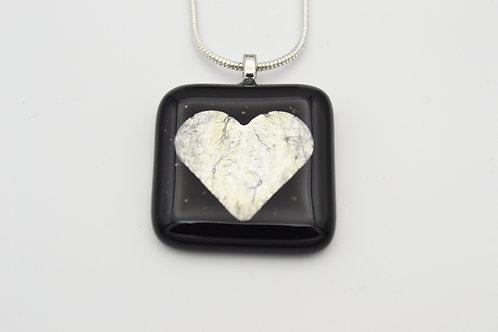 Black Silver Leaf Heart Glass Necklace