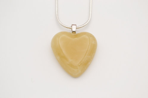 Pale Yellow Solid Glass Heart Necklace