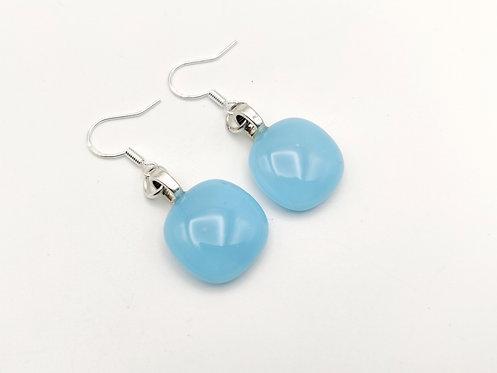 Mid Blue Opalescent Glass Earrings