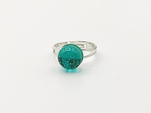 Marine Green Transparent Glass Adjustable Ring