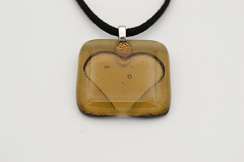 Brown Impressed Heart Glass Necklace