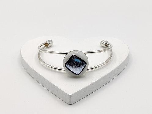 Silver on White Glass Bangle Bracelet
