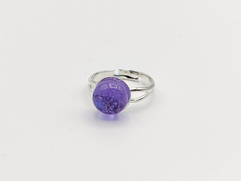 Lilac Transparent Glass Adjustable Ring