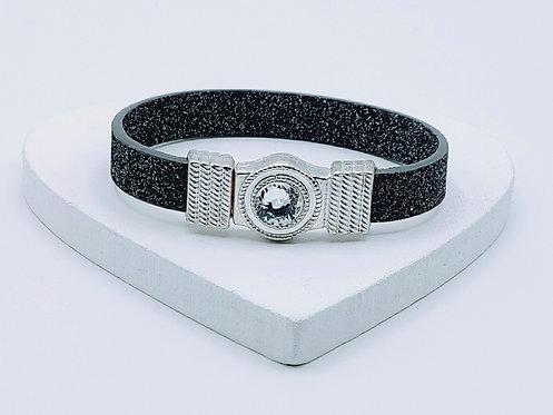 Black Glitter Bracelet with Rhinestone Magnetic Clasp