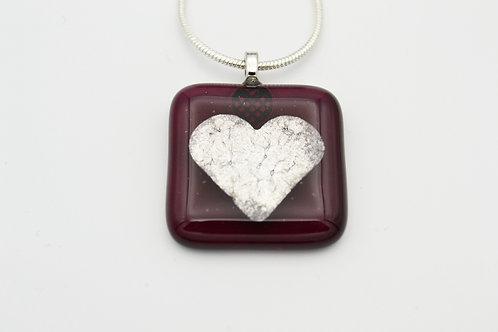 Garnet Red Silver Leaf Heart Glass Necklace