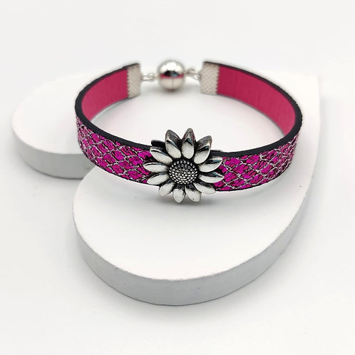 Bright Pink Glitter Bracelet with Silver Flower Design