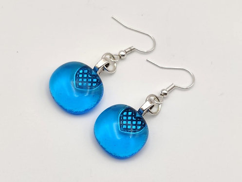Turquoise Transparent Glass Earrings