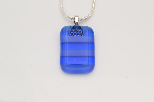 Blue Striped Glass Necklace