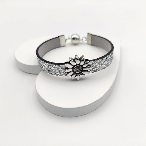 Silver Glitter Bracelet with Silver Flower Design