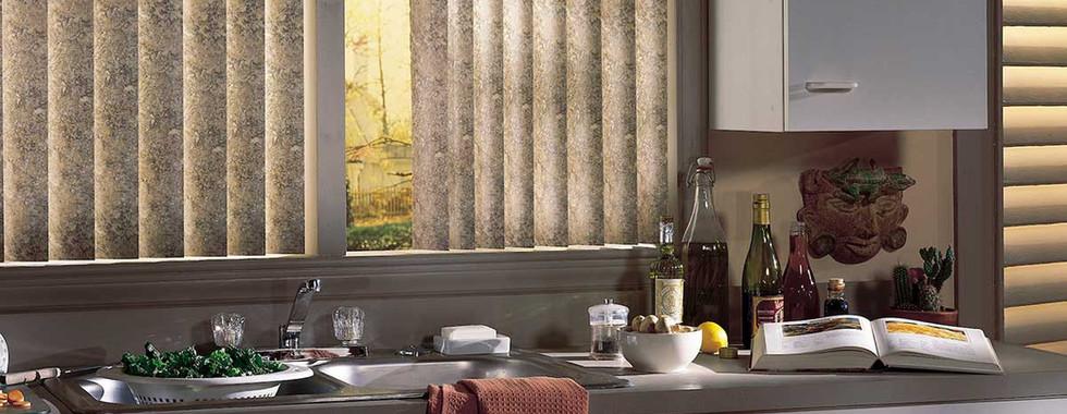 brown-patterened-vertical-blinds-kitchen