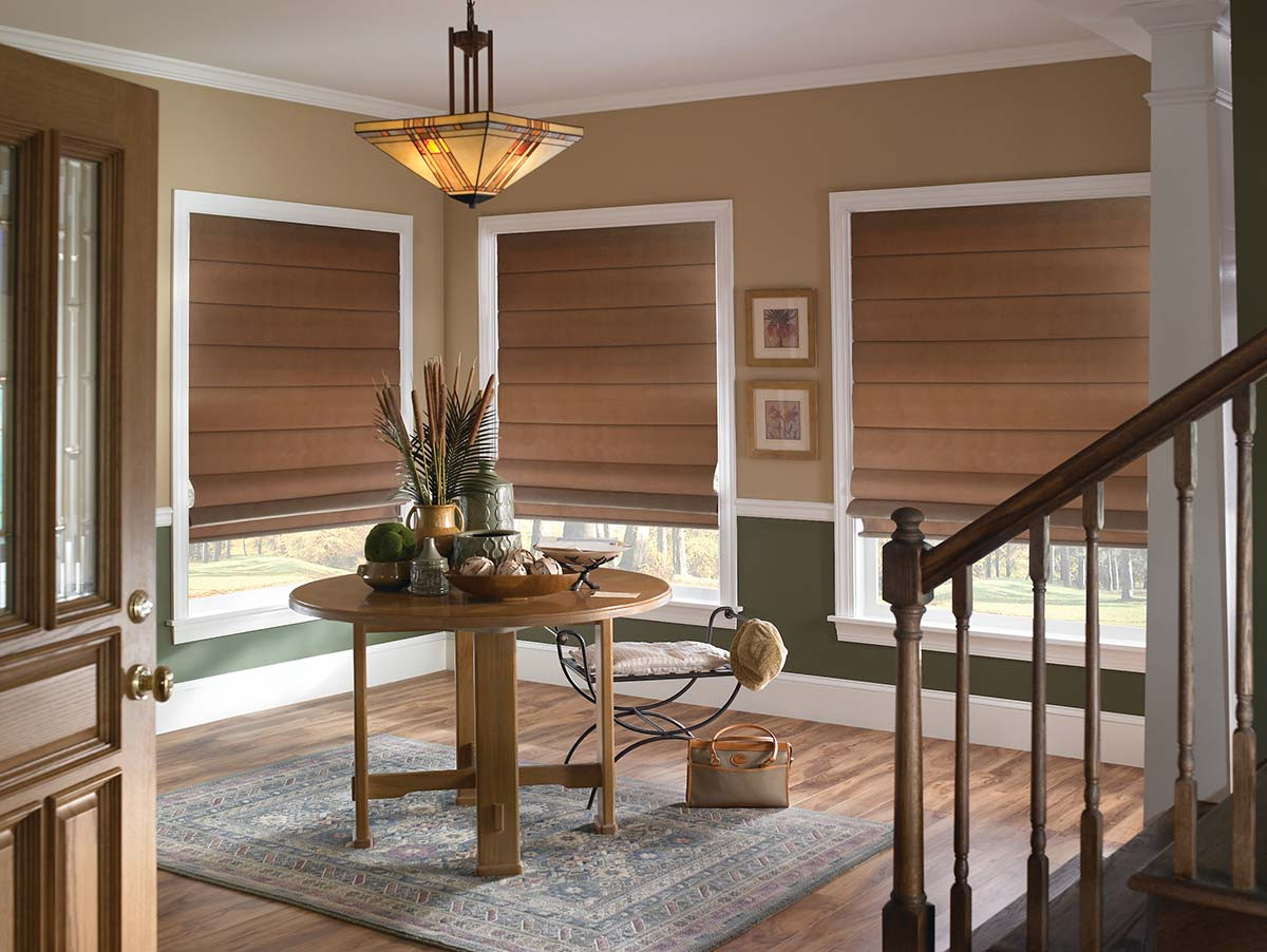 brown-plain-classic-pleated-roman-shades