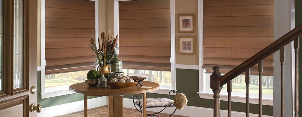 brown-plain-classic-pleated-roman-shades