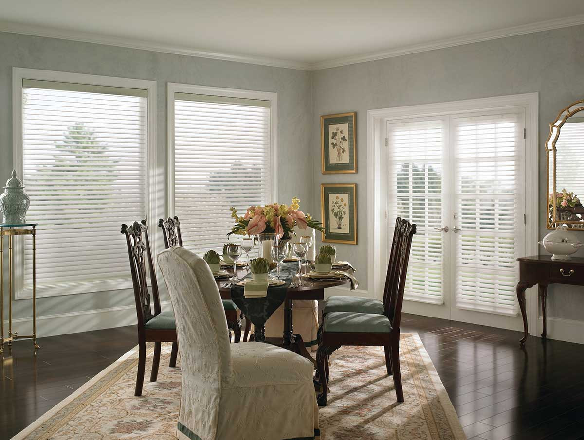 white-sheer-shades-french-door-dining-ro