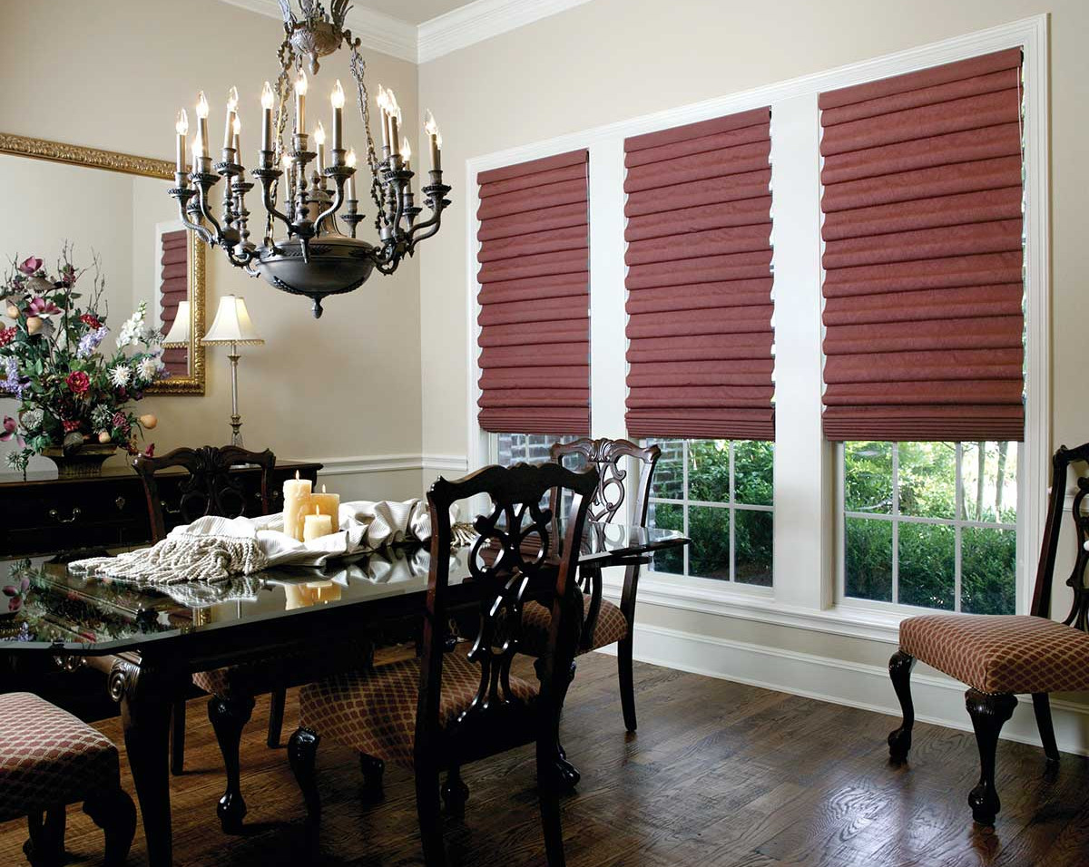 burgundy-hobbled-roman-shades-dining-roo