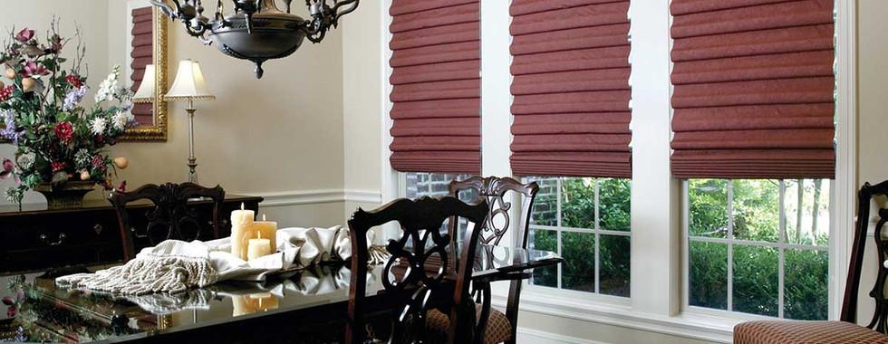 burgundy-hobbled-roman-shades-dining-roo
