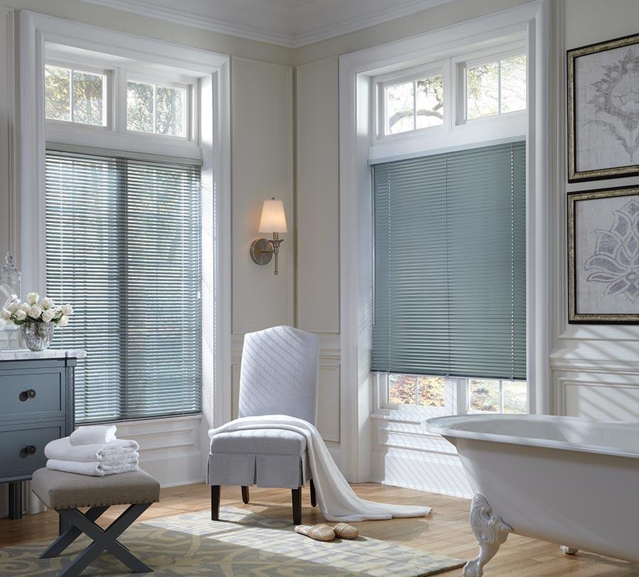 aluminum mini blinds in bathroom shower bath