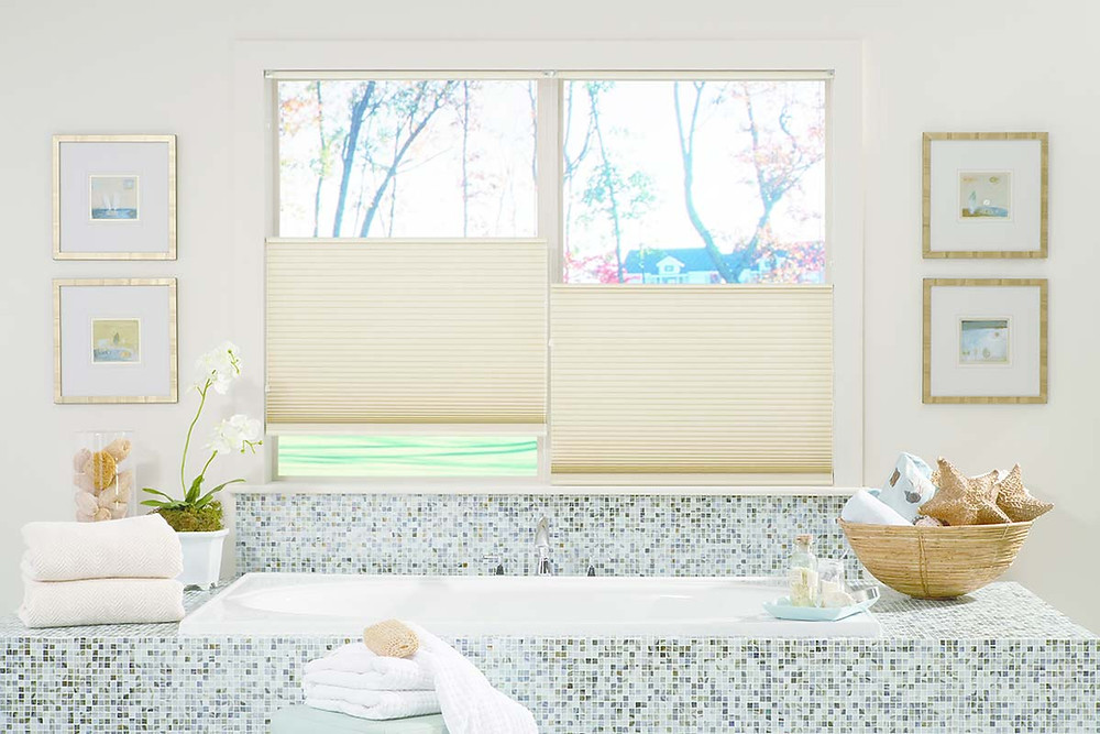 top-down bottom-up cellular honeycomb shades in bathroom for privacy and light control
