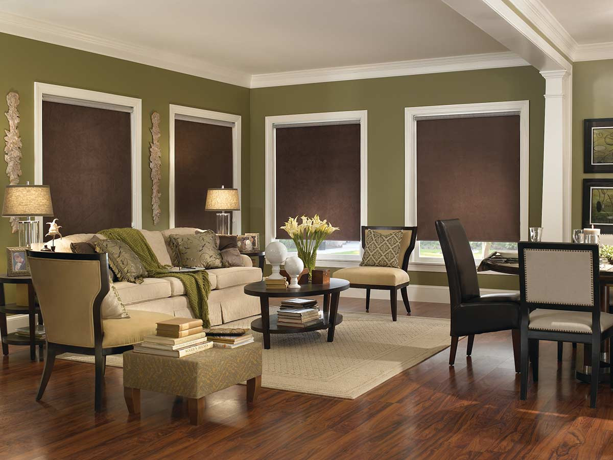 blackout-brown-roller-shades-living-room