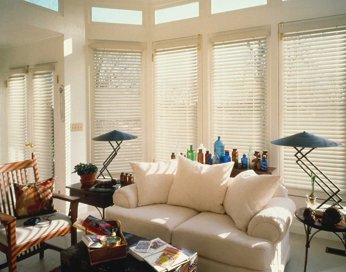 white-real-wood-blinds-living-room-glass