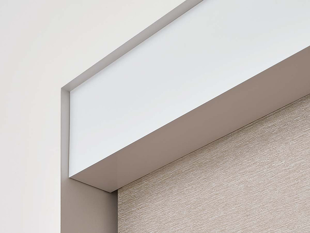 white aluminum fascia top treatment for roller shade