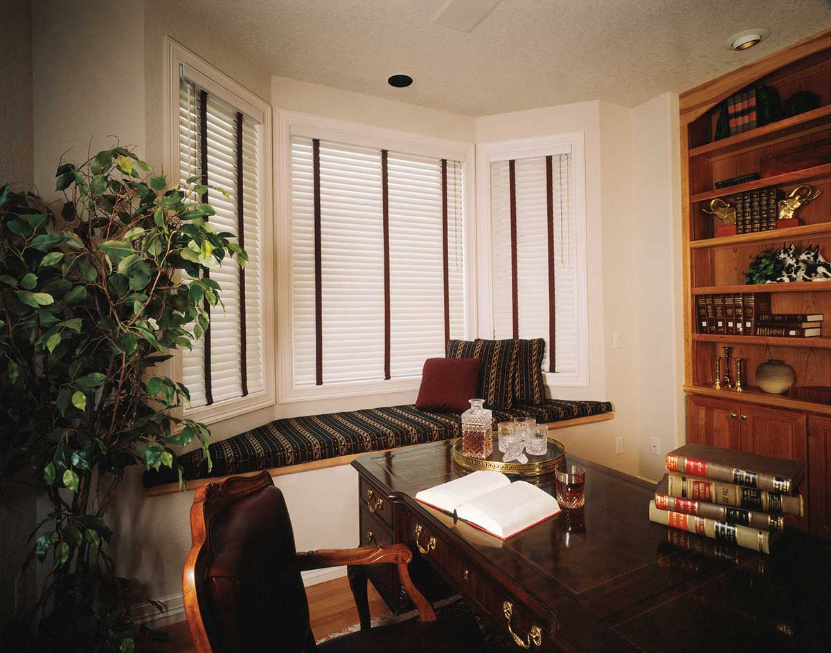white-real-wood-blinds-brown-tape-office
