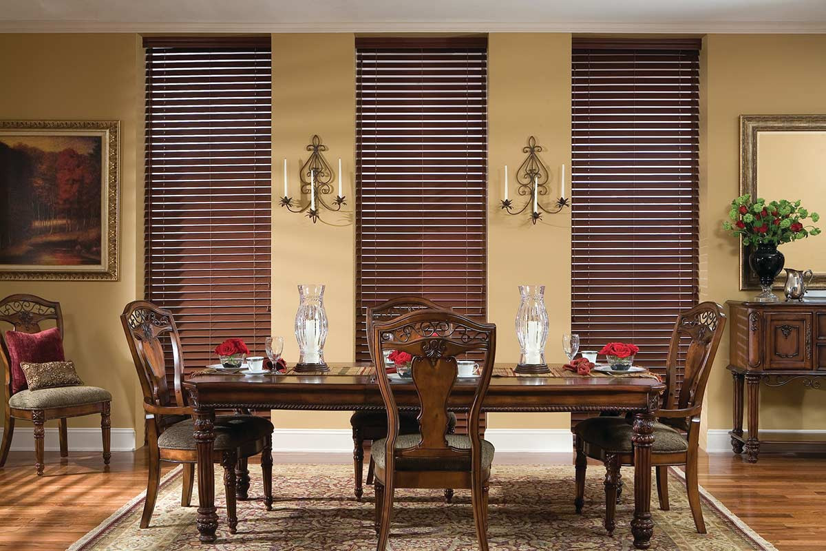 dark-brown-faux-wood-blinds-dining-room.
