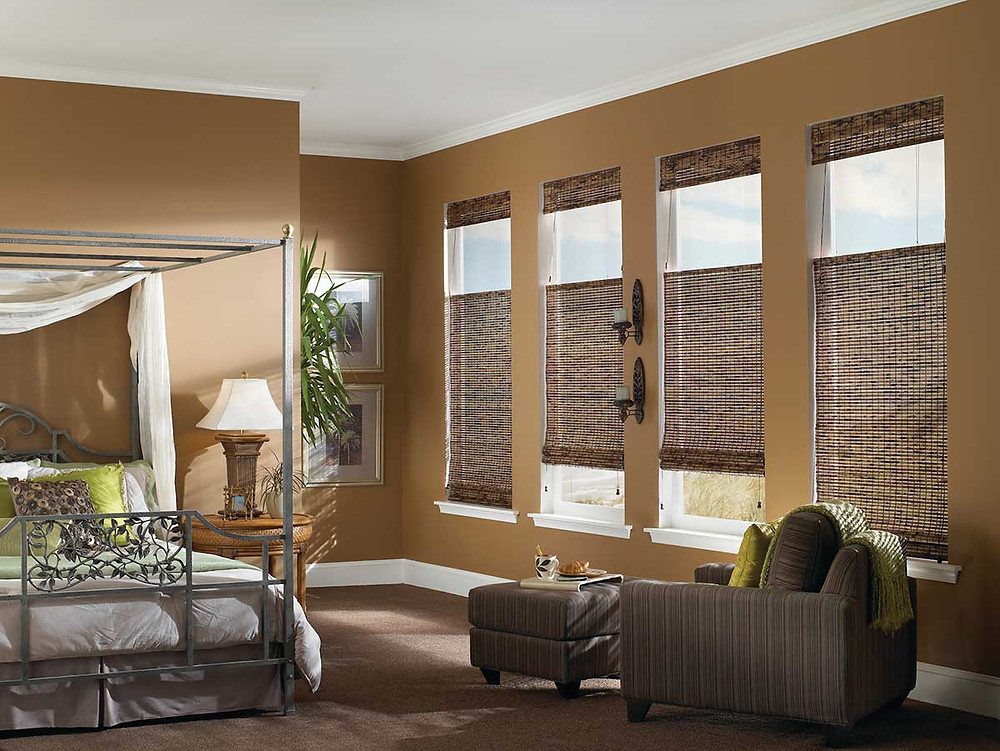 top-down bottom-up woven wood shades in bedroom