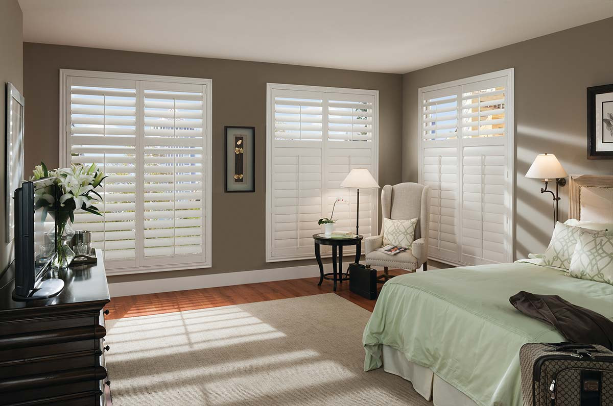 White Large Plantation Shutters Bedroom