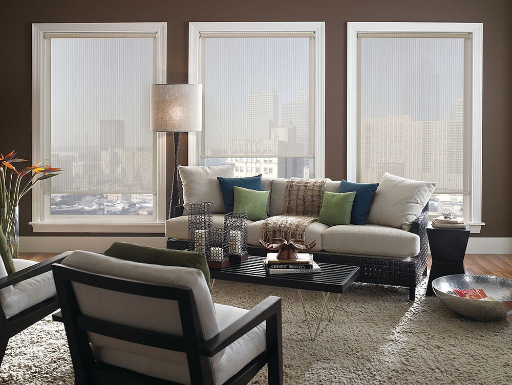 white solar shades in a living room which allow to see the view clearly
