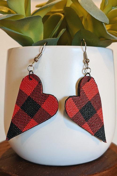 Red + Black Heart Earrings