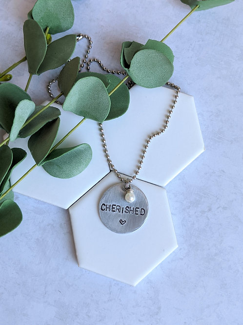 Cherished | Hand Stamped Necklace