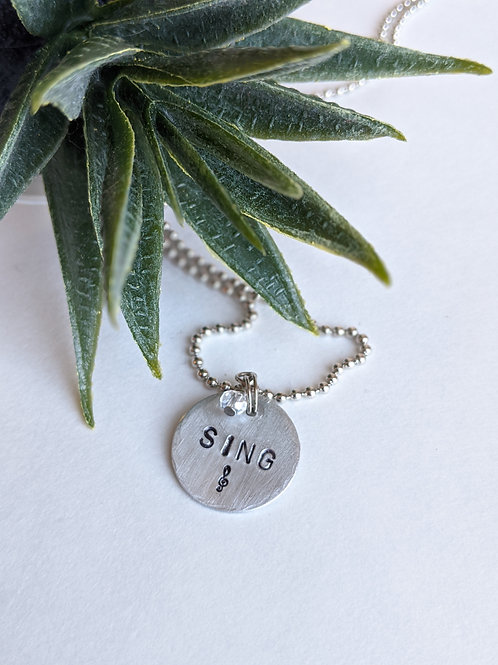 Sing | Hand Stamped Necklace