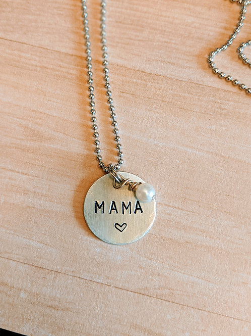 Mama Hand Stamped Necklace