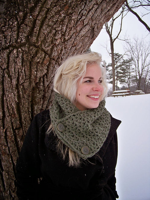 Double Button Crochet Cowl
