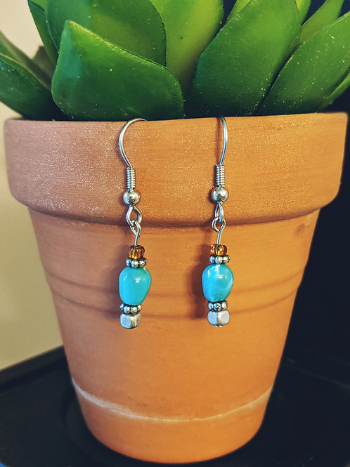 Turquoise + Metal Earrings