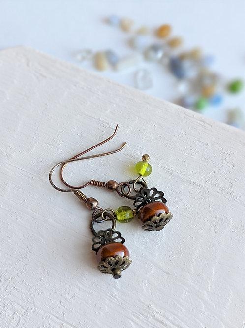 Bead + Flower Earrings