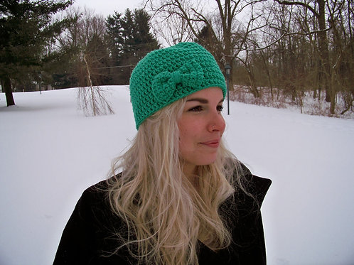 Mint Green Crochet Bow Beanie
