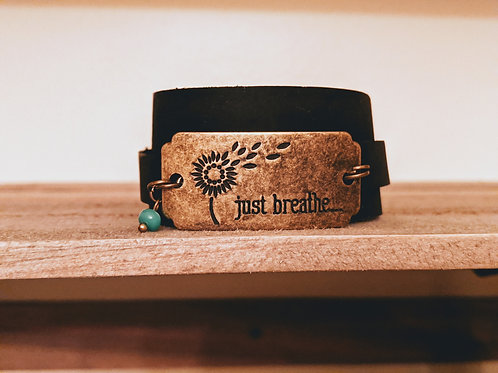 Just Breathe Leather Wrap Bracelet