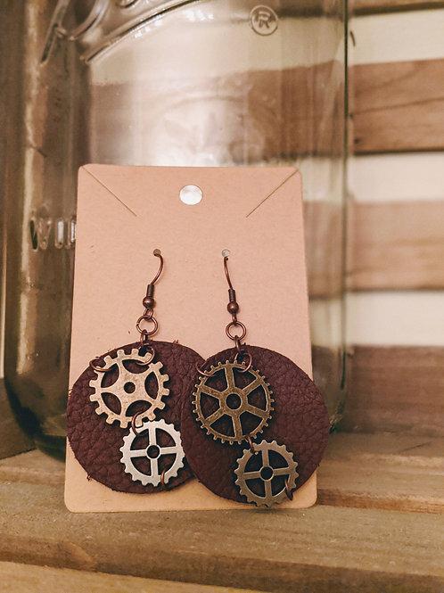 Leather Steampunk Earrings