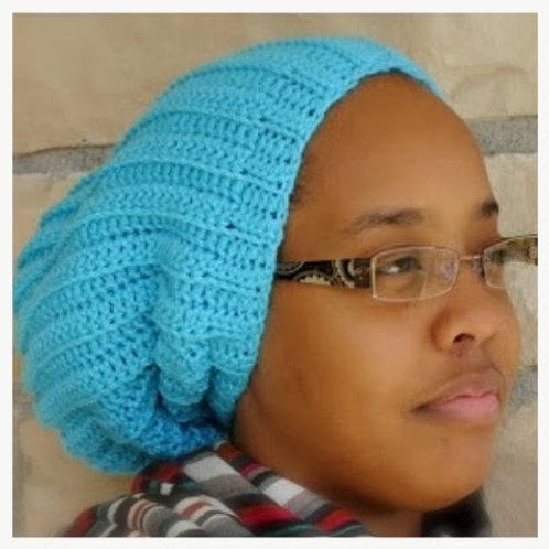 Teal Slouch Crochet Beanie