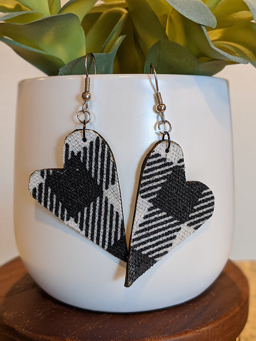 Black + White Heart Earrings