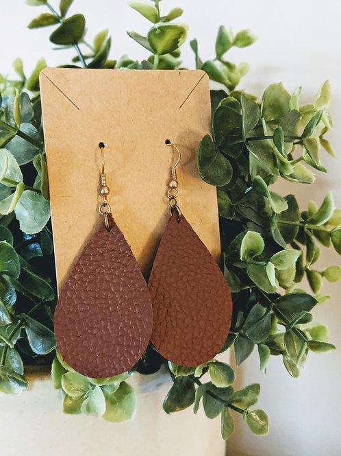 Simple Leather Tear Drop Earrings