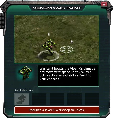 War Commander Bases | Venom The War Commander Venom require a Level 8 Workshop to be Unlocked.