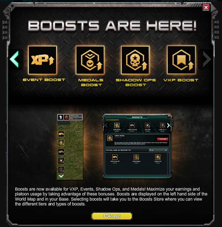 Can we club multiple 150% or 100% War Commander xp boost together at a single time? If not, then can we club any combination of xp boost