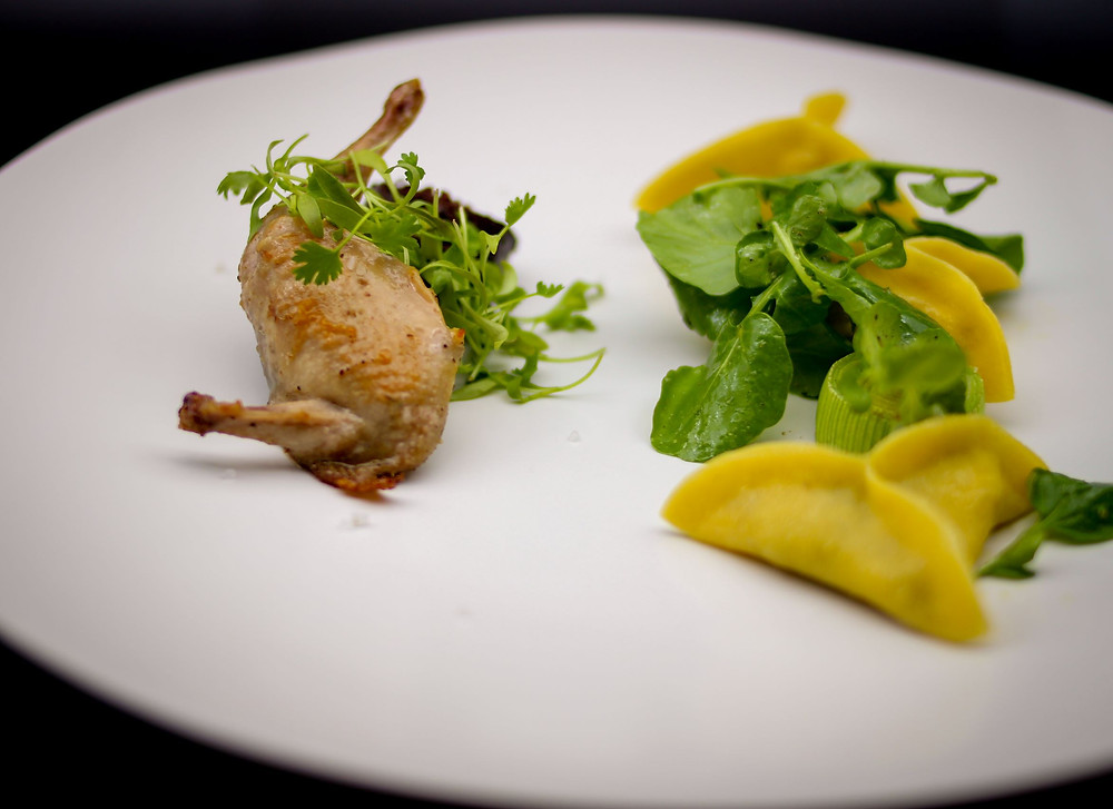 Roasted quail and goat cheese ravioli