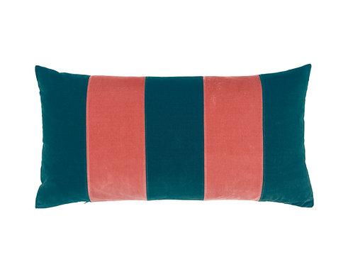 Stripe Velvet 40x80 petrol/blush