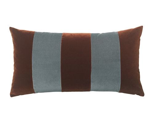 Stripe Velvet 40x80 steel grey/chocolate