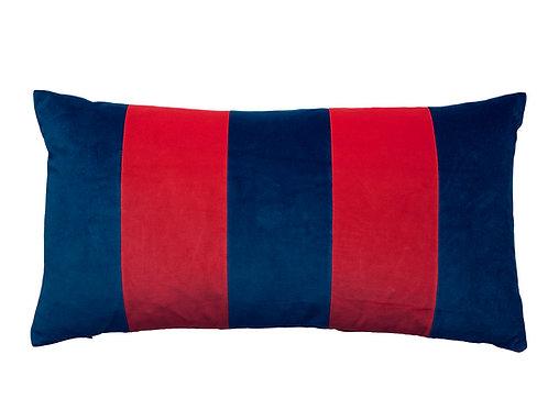 Stripe Velvet 40x80 #denim/scarlet