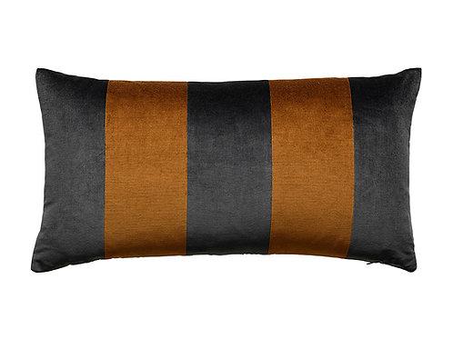 Stripe Velvet 40x80 dark grey/cognac