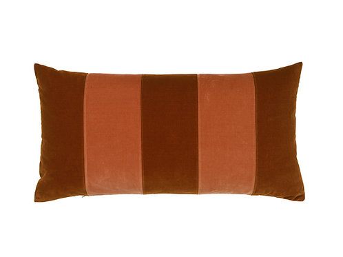 Stripe Velvet 40x80 burnt orange/sierra